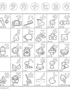 Katakana learning chart coloring page also downloadable charts rh tofugu