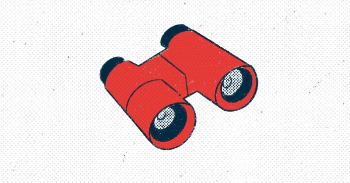 a pair of red binoculars