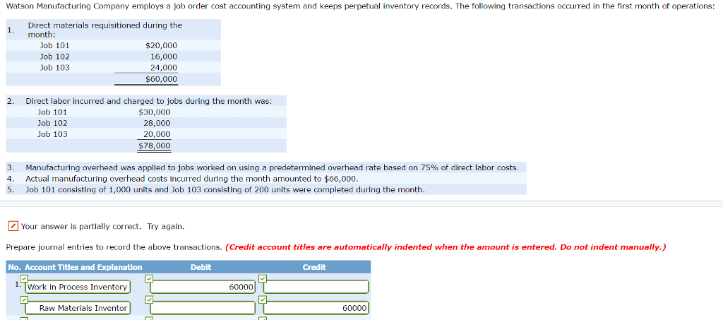 (Solved) - Manufacturing Company employs a job order cost accounting system... - (1 Answer) | Transtutors