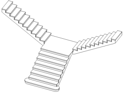 2013 T Shaped Stair in Revit 2013