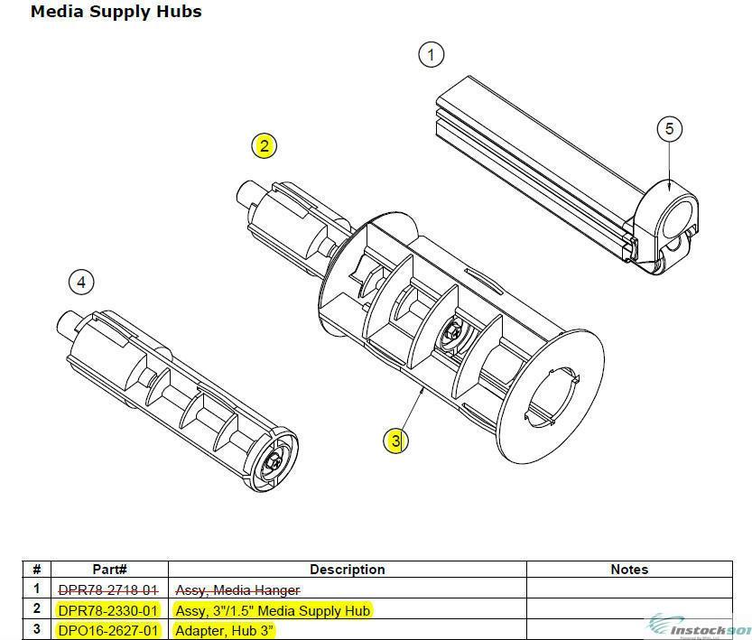 Datamax DPR78-2330-01 DPO16-2627-01 Media Supply Hub