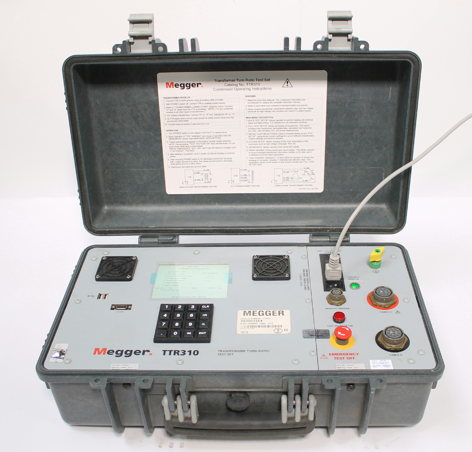 Megger Ttr310 Three Phase Transformer Turns Ratio Tester