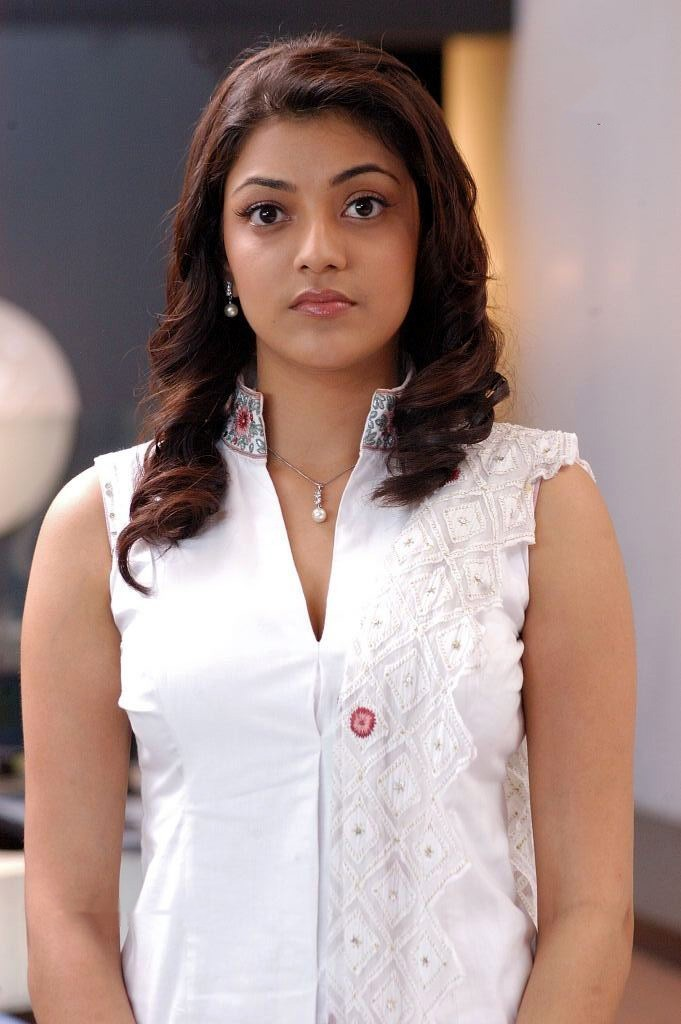 Dazzling Kajal Aggarwal in White Dress HD Wallpaper Collection
