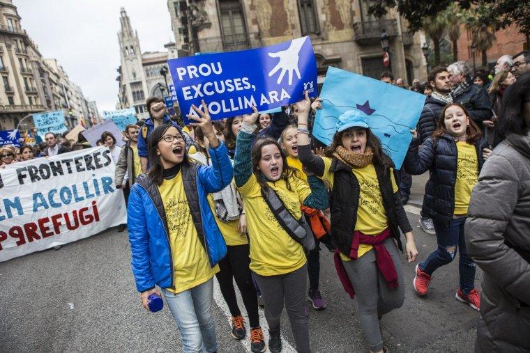 Imatge de la manifestació per l'acollida de refugiats a Barcelona l'any 2017