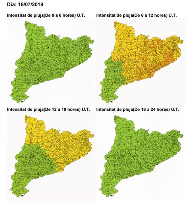 Mapa d'afectacions per la pluja