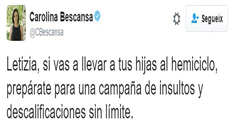 Image result for carolina bescansa amenaza a leticia