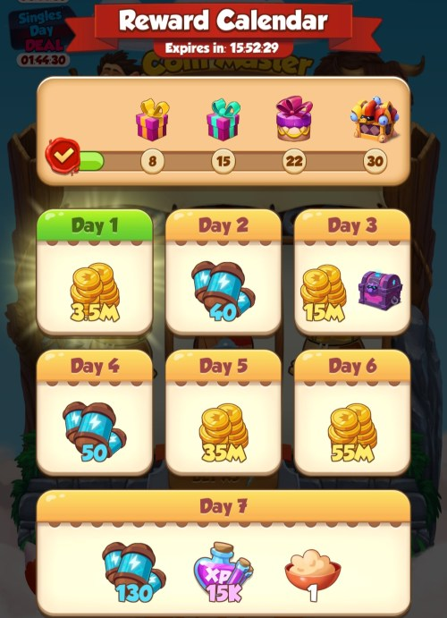 Log in 7 days calendar Coin Master free spins, coins, premium cardschest, pet food, pet experience