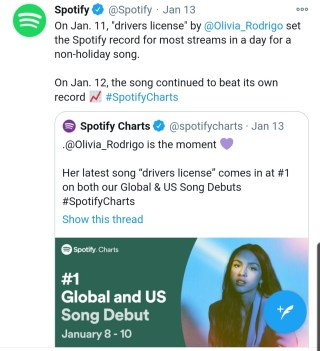 Spotify tweeted About Drivers licence