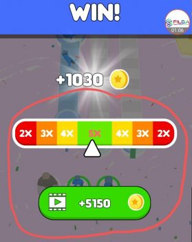 Watching Ads at the end of a level to multiply level reward, Pusher 3D Tips, FILGA
