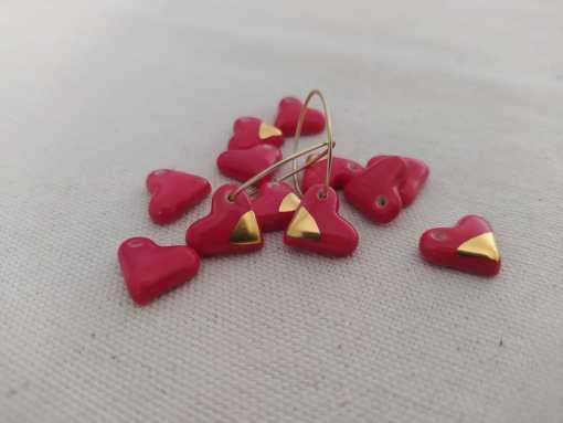 Corazon ceramica rojo lustre oro filigranaart