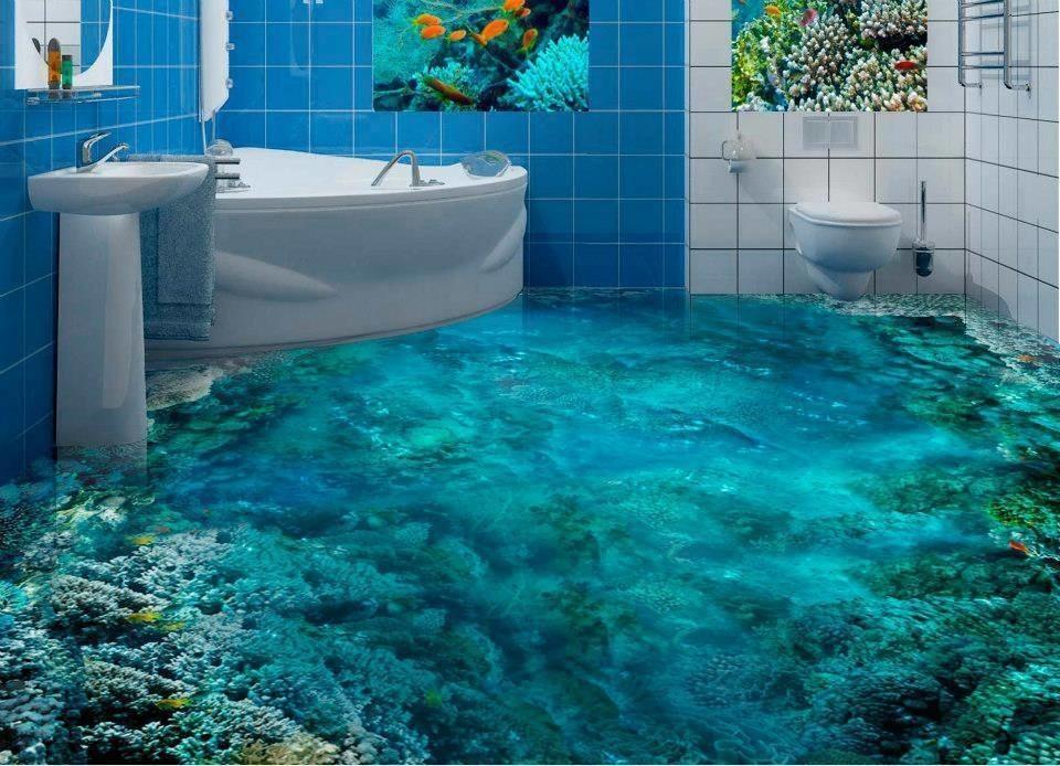 Chciaby si poczu jak w wodzie podczas wizyty w azience Te wzory 3D na podog Ci na to