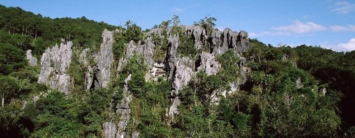Hangende doodskisten (midden v/d foto) en karstrotsen – Sagada