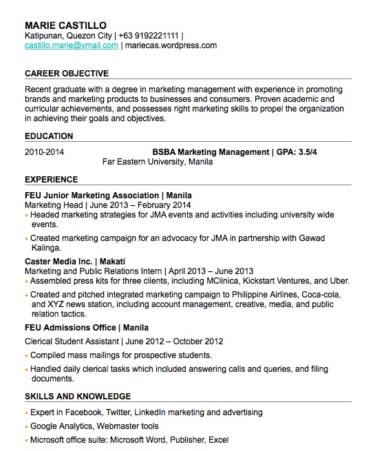 24/09/2010· sample resume for computer science fresh graduate virtually people who tend to hunt a job perceive that resume is the decisive factor as to whether you can make it to the interview round or not. Resume Sample For Fresh Graduate In The Philippines