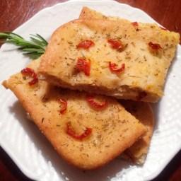 Oregano and dried tomatoes focaccia bread