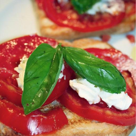 Sliced Tomatoes, Fresh Basil and Mozzarella Bruscetta
