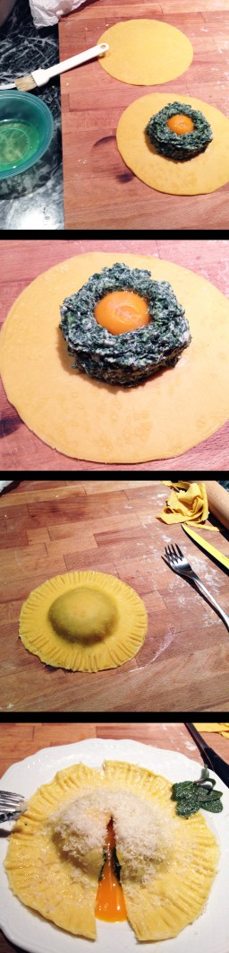 Spinach and ricotta Raviolo, with sage and butter dressing and poached egg yolk
