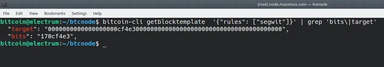 consolle bitcoin core nodo