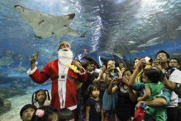 A worker in Santa Claus costume joins visitors observing various fish, as part of their Christmas presentation inside a Ocean Park in Manila December 24, 2012. The Philippines, a mainly Roman Catholic country, celebrates one of the longest Christmas holidays in the world, playing Christmas carols in shopping malls in September and putting up lanterns and fireworks early in December. REUTERS/Romeo Ranoco (PHILIPPINES - Tags: SOCIETY RELIGION TPX IMAGES OF THE DAY)