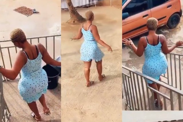 Slay queen causes stir with her big backside