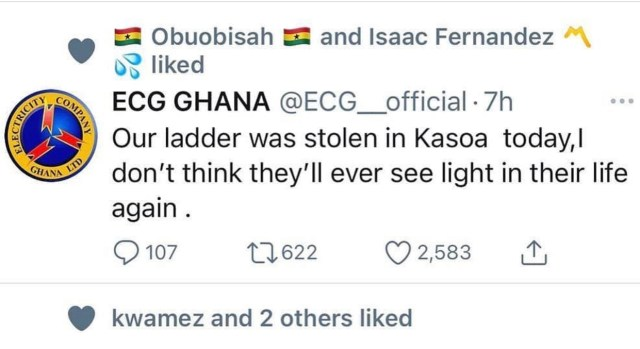 A ladder belonging to the ECG - Electricity Company of Ghana has been reported stolen in Kasoa