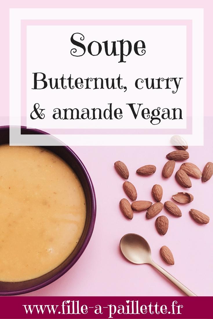 soupe butternut, curry et amande vegan