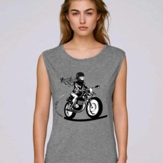 debardeur femme moto rock fille au guidon