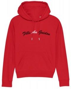 Sweat shirt moto femme rouge fille au guidon coton