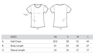 guide tailles tee shirt motarde femme coton bio