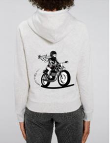 sweat moto femme à capuche gris bio fair wear