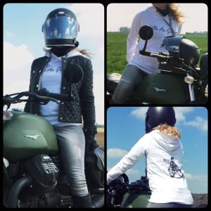 sweat shirt femme moto fille au guidon