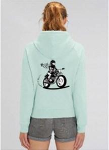 sweet capuche moto femme fille au guidon