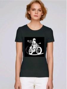 tee shirt motarde noir col rond