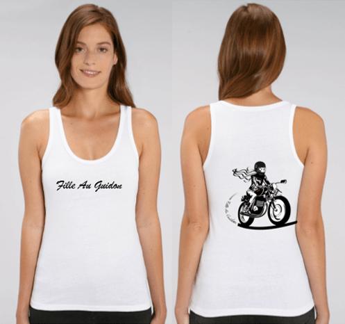 débardeur motarde fille au guidon recto verso