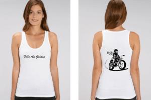 débardeur motarde fille au guidon blanc recto verso