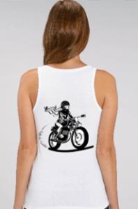 debardeur motarde fille au guidon dos