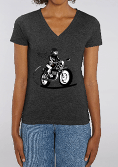 tee shirt moto femme fille au guidon gris