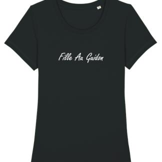 tshirt noir motarde fille au guidon