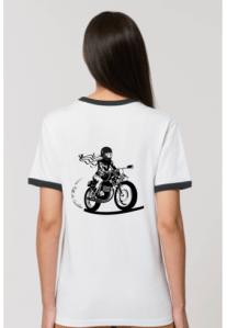 le dos du tee shirt retro blanc fille au guidon porte une motarde imprimee en serigraphie en France