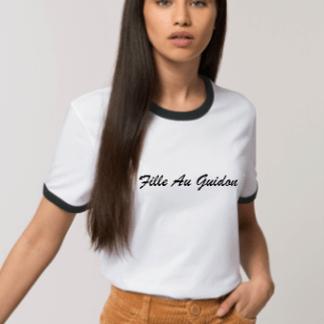 tee shirt motarde contrasté blanc et noir en coton bio fair trade pour les filles au guidon