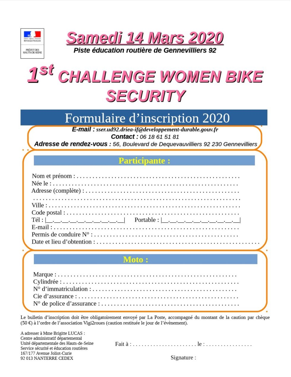 Inscription au challenge Women bike Security 2020