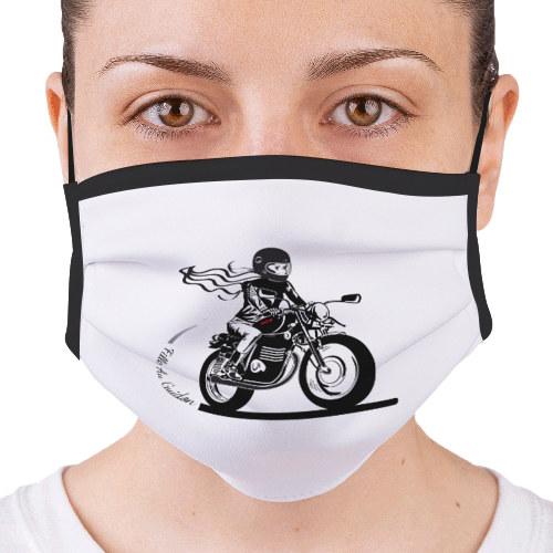 le masque Fille au Guidon est en tissus, réutilisable et homologué