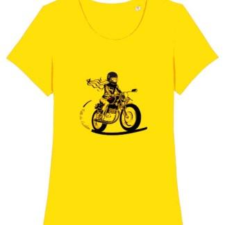 le t-shirt motarde fille au guidon est le tee-shirt pensé pour les motardes