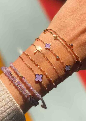 ZAG Bijoux Armband – Lila Klavertje Vier Goud