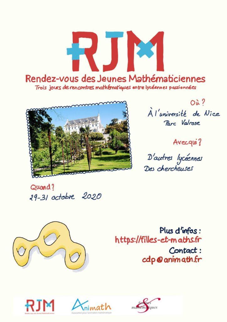 Affiche Rendez-vous des Jeunes Mathématiciennes à Nice en 2020