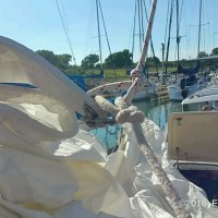 A headsail downhaul line