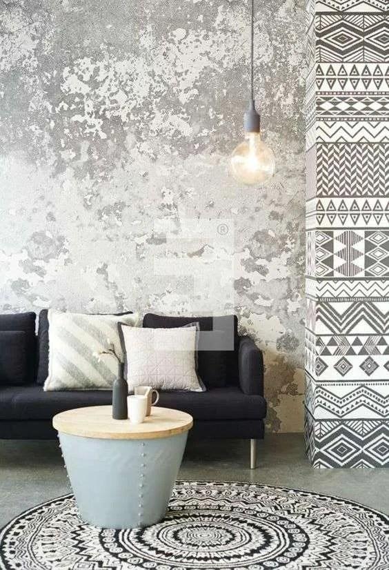Carta da parati decorativa dal design vintage e divano in legno in. Carta Da Parati A Muro Di Casa A Noida