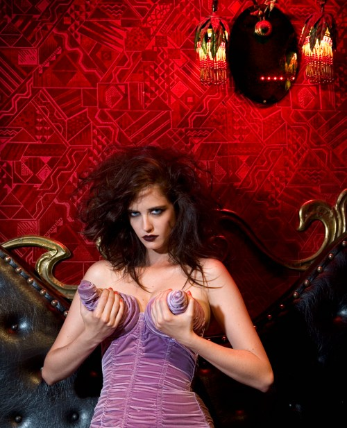 Eva Green, Goth, Purple Cone Dress, 01