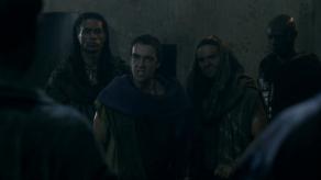 John Hannah, Dustin Clare, Antonio Te Maioha, Peter Mensah, Spartacus: Gods of the Arena, The Bitter End, 01