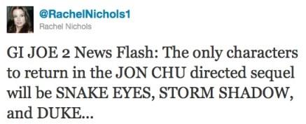 Rachel Nichols, G.I. Joe 2 Tweet