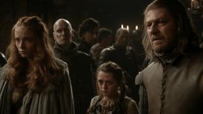 Sean Bean, Maisie Williams, Sophie Turner, Wilko Johnson, Game of Thrones, The Kingsroad, 01